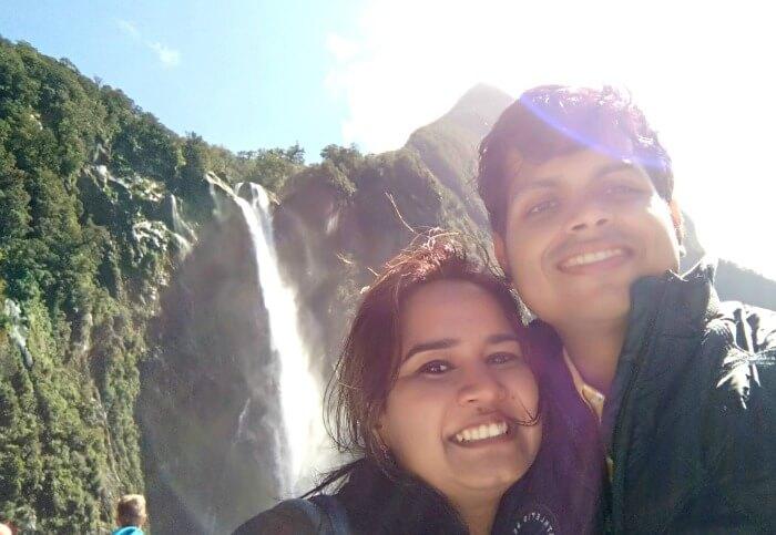 Enjoying the gorgeous falls in New Zealand