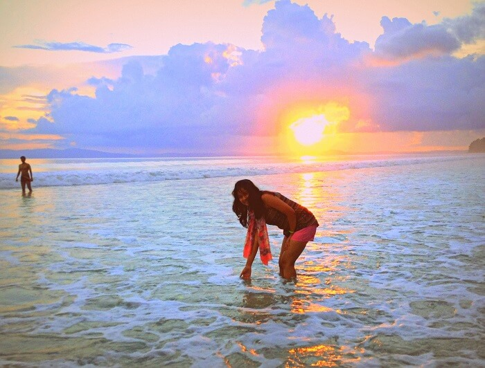 at the sunset of Radhanagar Beach Andaman