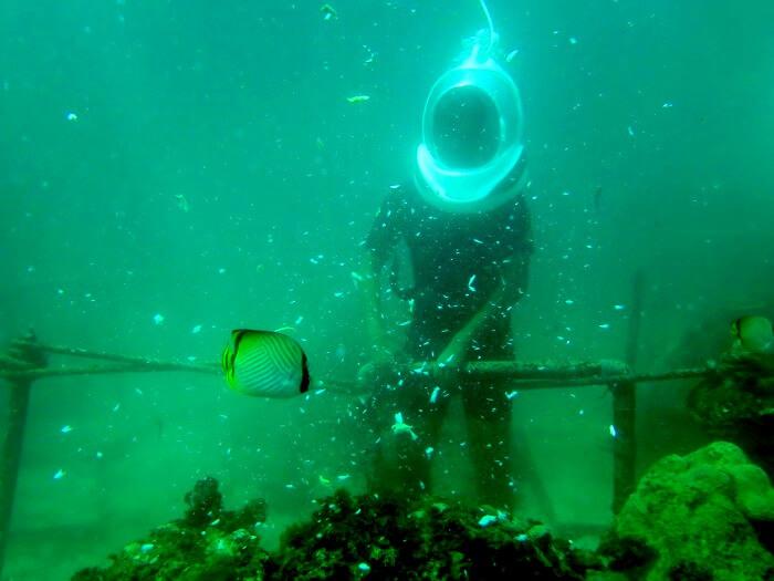 Underwater seawalker at Benoa beach