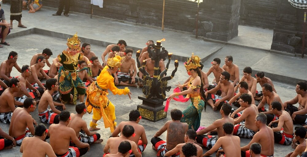 Dancers performing the Kechak dance in Bali