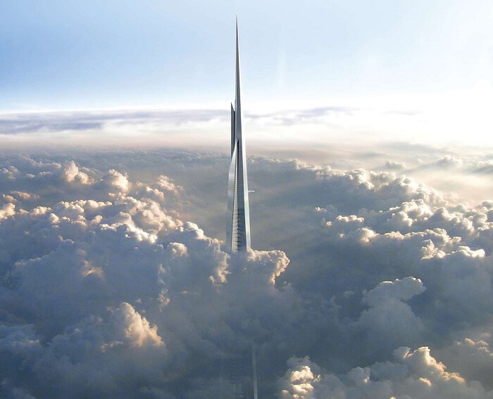 A view of the top levels of the soon-to-be-completed Kingdom Tower above the clouds