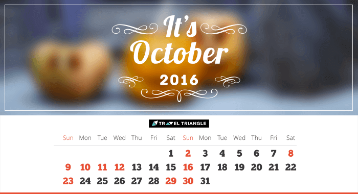 List of all the long weekends in October 2016