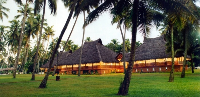 A serene view of the Marari Beach resort in Mararikulam