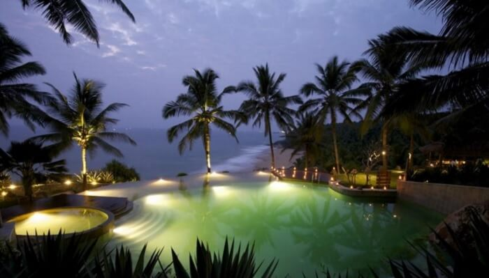 Niraamaya Retreats Surya Samudra in Kovalam is another popular name among the private beach resorts in Kerala