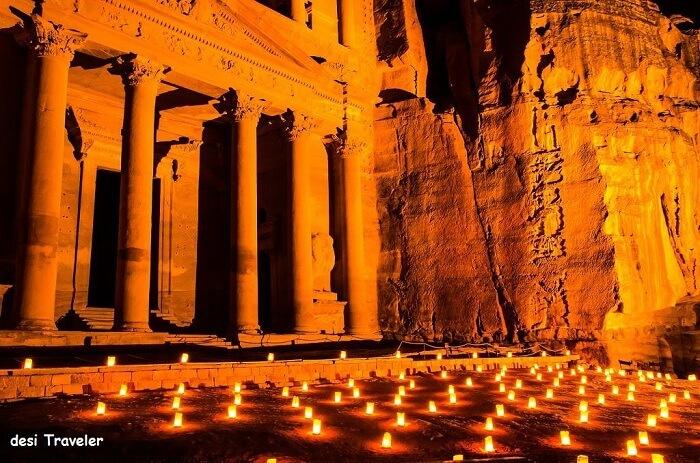 Petra in Jordan being lit up