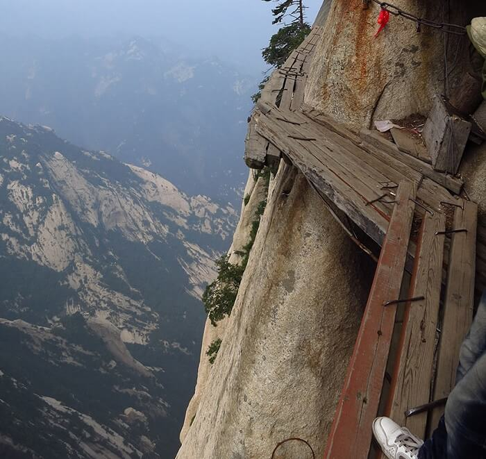 Extremely dangerous and thrilling plank path of Mount Huashan