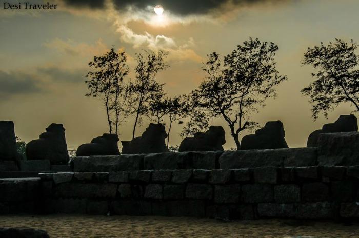 View from the Shore temple Mahabalipuram