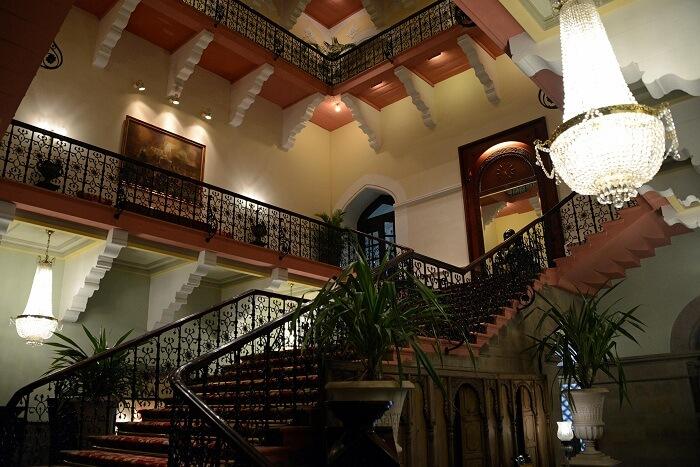 The grand staircase at the haunted Taj Mahal Hotel in Mumbai