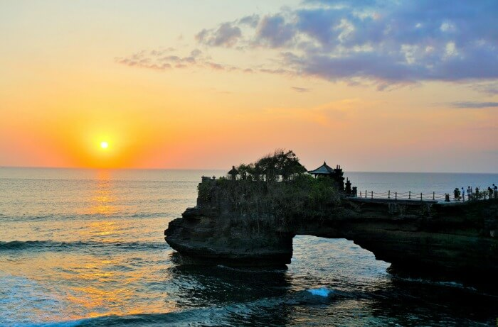 Beautiful sunset at the sea view from Tanah Lot
