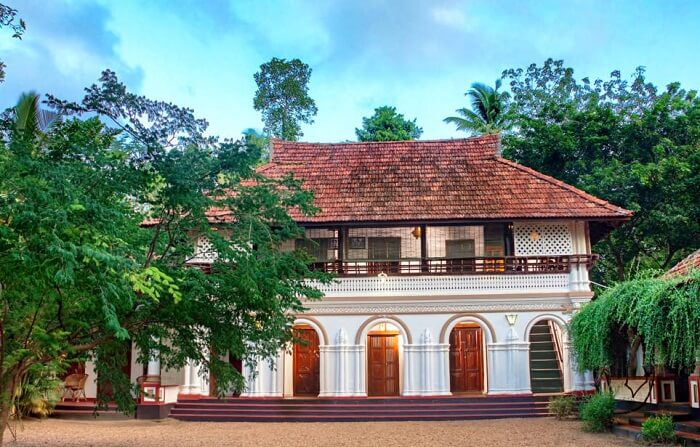 A view of the entrance of the Tharavadu Heritage Home at Kumarakom