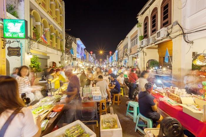 The Walking Street Market in Phuket bustling with shoppers