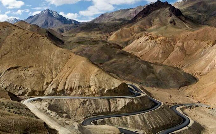 The winding roads of the Manali-Leh Highway in the magnificent hills of Ladakh