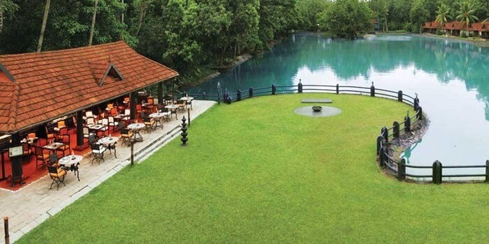 A view of the pool side dining at Vivanta by Taj in Kumarakom