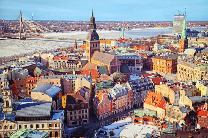 The aerial view of the marvelous city of Riga, shining under the sunlight