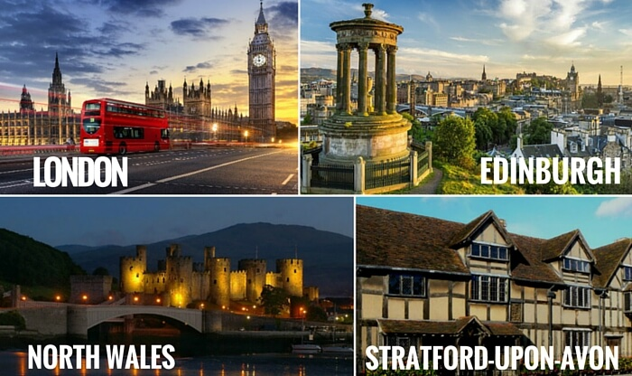 A collage of the cities covered in your Britain trip