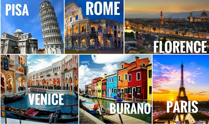 A collage of the cities covered in your Euro trip through the best of Italy and Paris