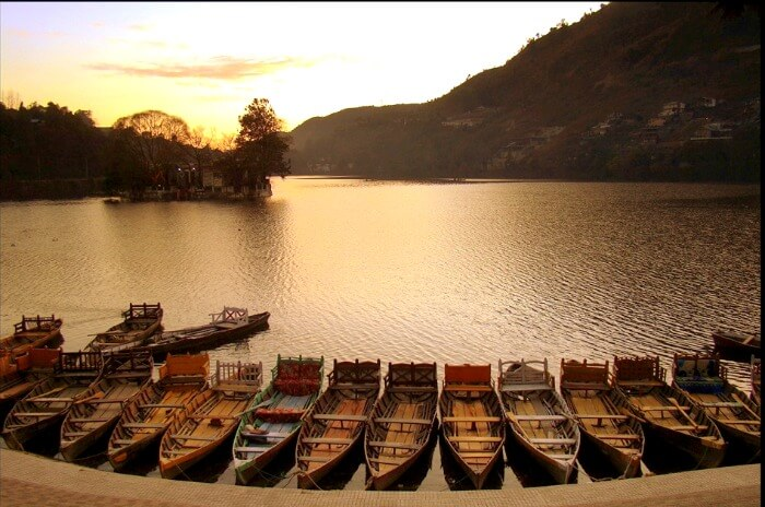 Sunset in Bhimtal in Uttarakhand
