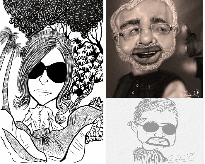 Caricatures and cartoons by Chandan Pal