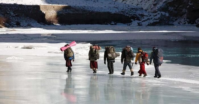 Trekking on a frozen Zanskar river