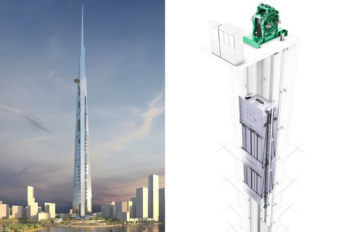 A 3-D modelling software based image of what the double-decker elevator will be like