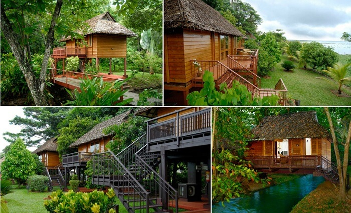 A collage of the KTDC Kumarakom resort