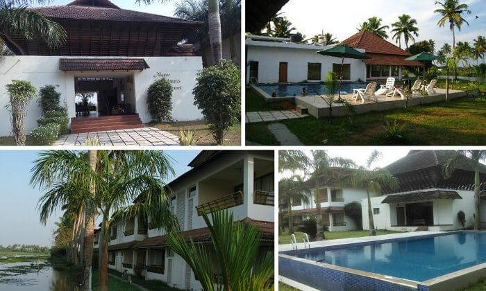 A collage of the various views from Manor Backwater Resort in Kumarakom