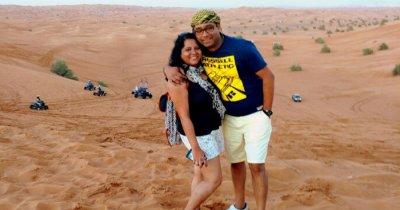 Ojas and his wife during a safari in Dubai