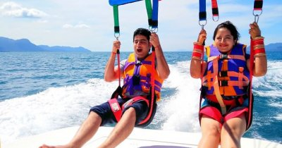 Rohan and his wife trying an adventure sport on a honeymoon in Kuala Lumpur an Langkawi