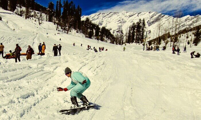 People try snow sports at Solang - one of the premier destinations for snowboarding in India