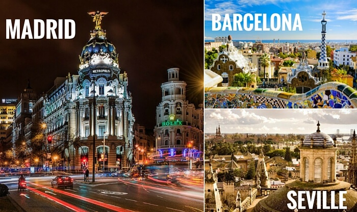 A collage of the cities covered in your Spain trip