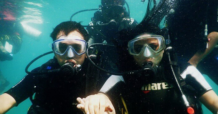 Tarun trying snorkeling on his honeymoon trip to Andaman