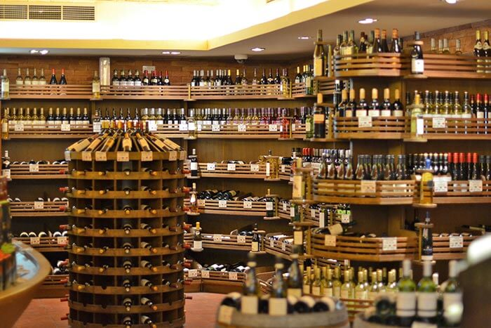 An ocean of liquor options at one of the best thekas in Delhi