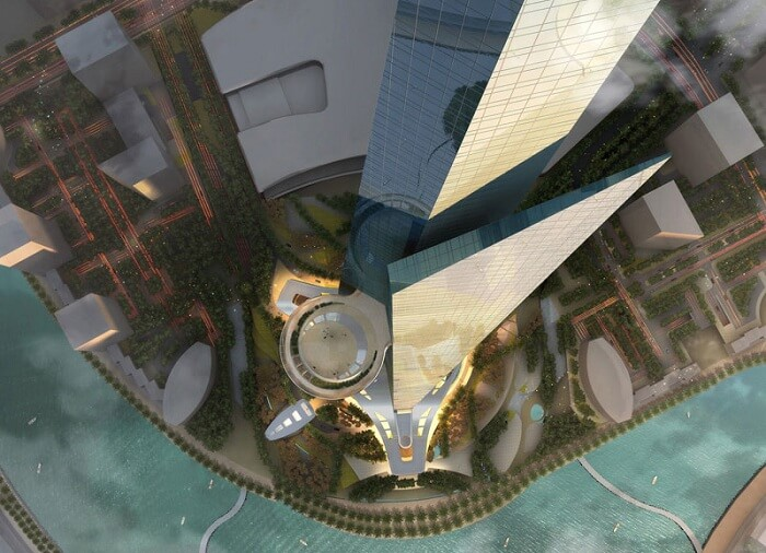 A top view of the kingdom tower and its lobbies and patios