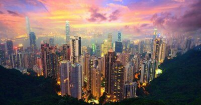 The stunning view of Hong Kong's cityscape as seen from Victoria's Peak