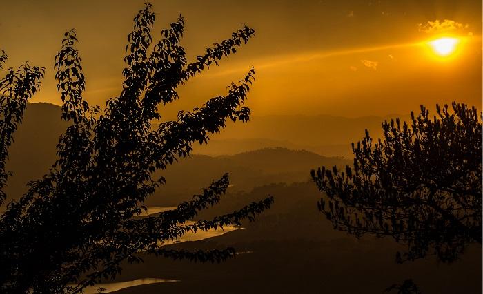 A beautiful sunset at the Umiam Lake in Meghalaya