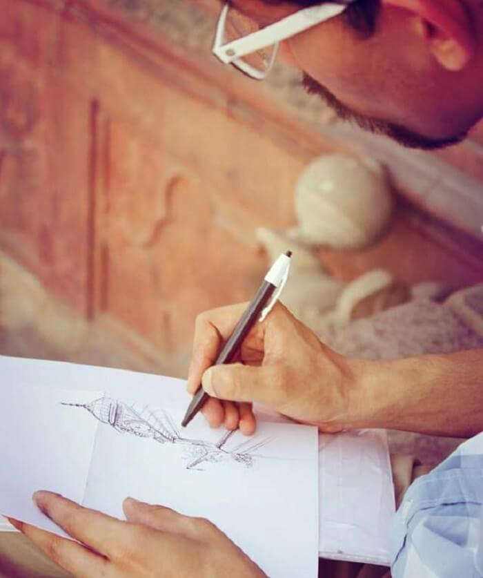 Amit while doodling