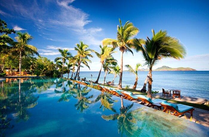 The beautiful infinity pool at the Tokoriki Island Resort