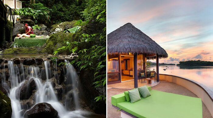 The rainforest spa and a room at the chic Kora Sun Resort