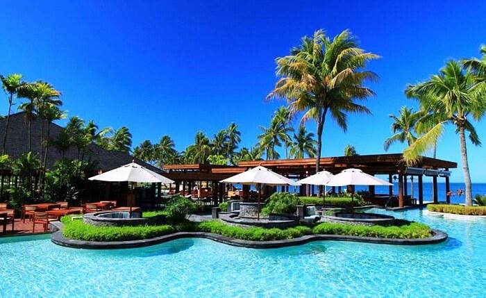 The beautiful swimming pool at the Turtle Island Resort in Fiji