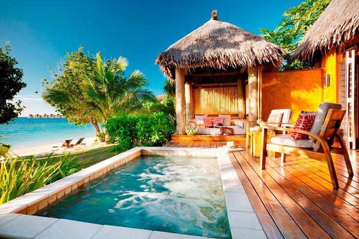 The beautiful Deluxe Beachfront Bure at the Likuliku Lagoon Resort
