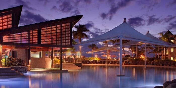 A night shot of the swimming pool at the Radisson Blu Resort in Fiji