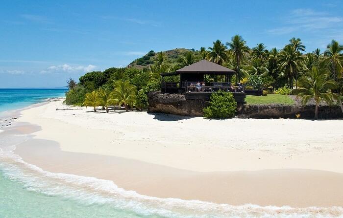 A beachfront of the Vomo Island Resort