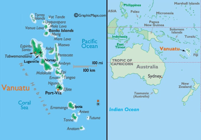 A view of the location of Fiji islands and a zoomed-in version of the group of islands