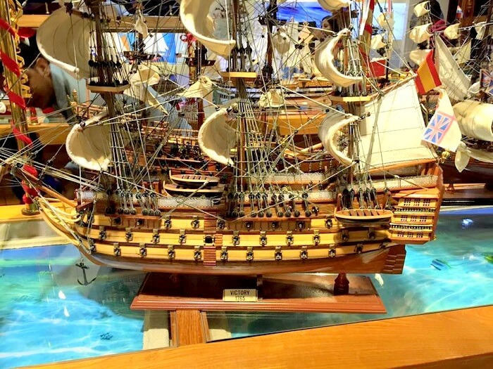 A miniature model ship in Mauritius