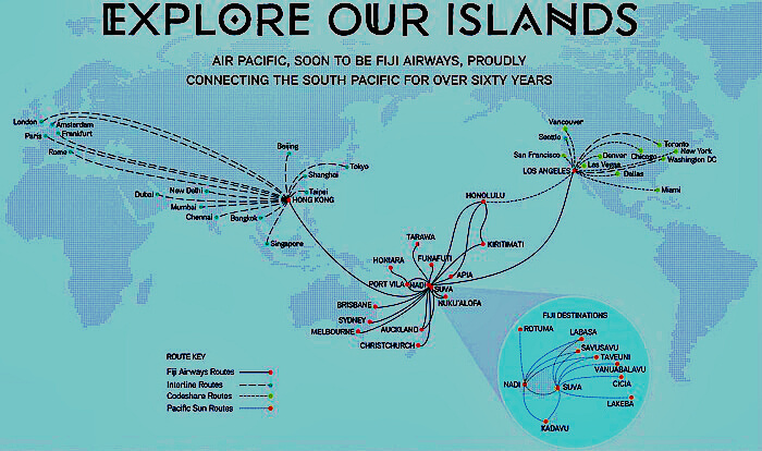 A complete collection of flight routes to Fiji