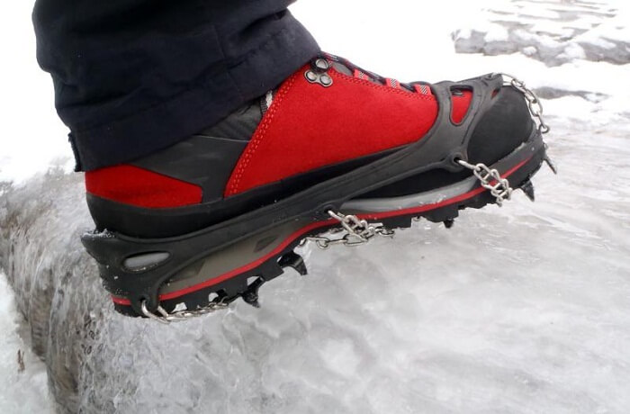Crampsons help to have a firm grip while you walk on ice sheet