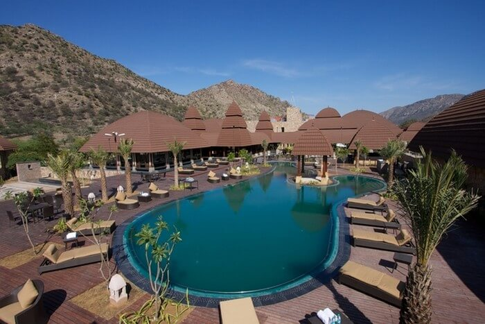 Rooms and the pool view of Ananta Spa and Resorts - the best name among resorts in Pushkar