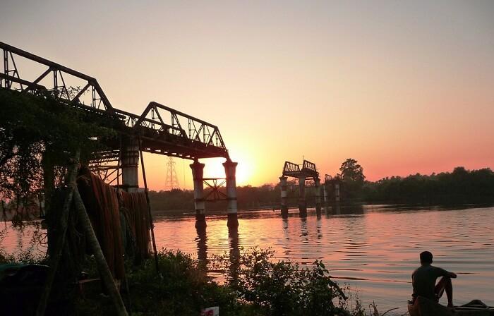 Sunset at the Borim Bridge over the Zuari River
