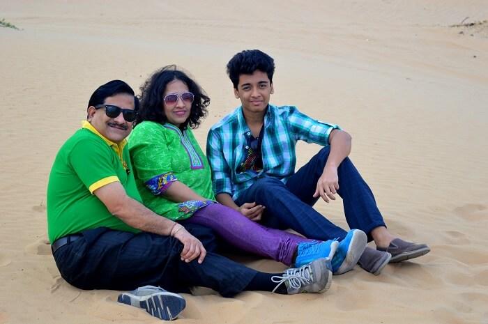 Raman's family at Desert Safari, Dubai