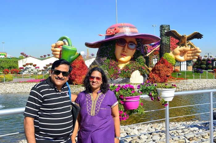 Raman with his wife at the Miracle Gardens, Dubai
